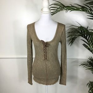 Free People Lace Up Thermal Top Small